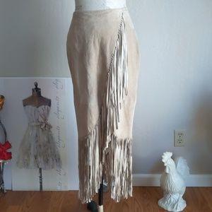 Charm 100 %Suede Skirt w/Fringe